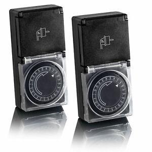 2x Zeitschaltuhr Außen IP44, analog, mechanisch, 24h Timer, für Steckdose SEBSON