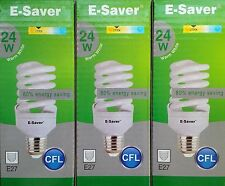 3x E-Saver, Energy Saving CFL Light Bulbs, Spiral, 24w, Warm White, E27 Screw