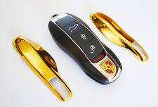 GOLD PORSCHE Remote Key Cover Case Skin Shell Cap Fob Protection Hull Trim 911 -