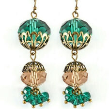 Handcrafted Emerald Green Beaded Earring Set NWT