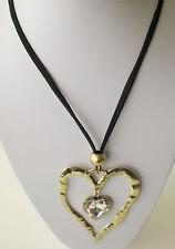 Negro Doble Cadena De Oro Antiguo y abstracto Corazón Colgante largo lagenlook Collar