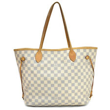 Auth LOUIS VUITTON Damier Azur Neverfull MM N51107 Tote Bag Ivory Free Shipping