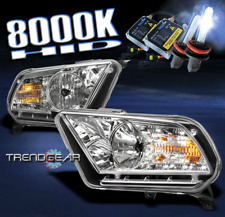 2010-2014 FORD MUSTANG BASE/GT DRL LED CHROME CRYSTAL HEADLIGHT LAMP+HID 8K