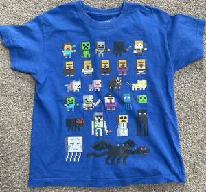 7 8 Years Boys Blue Minecraft Tshirt Top Gamer Gaming Jinx Mojang Characters