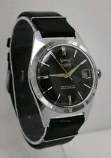 Vtg 1960s Services 'Calendar' Black Face Military Style Gents Swiss Wrist Watch