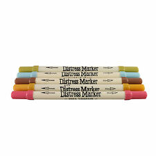 Tim Holtz Distress Ink Fine & Brush Dual-Tip 5 Piece Marker Set - Memories
