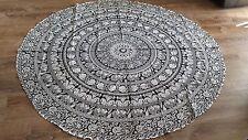 Black&White Color Bohemian Mandala Beach Round Tapestry Hippie Throw Yoga Mat,