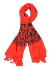 Red Embroidered 100% MERINO WOOL Scarf 80x28'' For Men & Women Unisex, Brand New