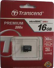 Transcend 16GB Premium Class 10 Micro SD Card SDHC TF Flash Memory