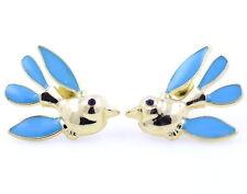 Gold tone turquoise enamel bird stud earrings