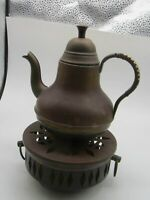 """Vintage """"M"""" Made in Holland Copper and Brass Teapot and Warmer"""