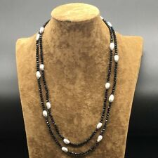 String Black Onyx Faceted Sparking Gray Freshwater Necklace Long 50 inches
