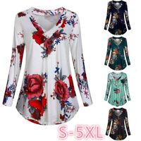 Womens Casual Loose Blouse Tops Ladies Long Sleeve Flowers Basic Tee T Shirt