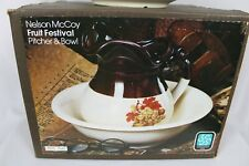 Nelson McCoy Pottery Fruit Festival Pitcher & Bowl 7515 7542 - NEW OLD STOCK