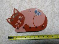 Folk Art Primitive Wood Carving Cat Vintage Hand Painted Decoration Key Holder