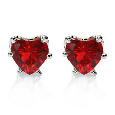 Lady Wedding Jewelry Gift Heart Cut Stone White Gold Plated Stud Earrings
