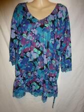 Cotton Blend 3/4 Sleeve Machine Washable Floral Tops & Blouses for Women