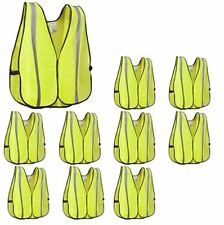 New 10pk Safety Vests High Visibility Yellow With Reflective Stripe