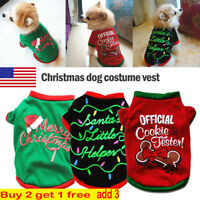 Christmas Dog Warm Fleece Vest Clothes Coat Puppy Shirts Sweater Winter Apparel