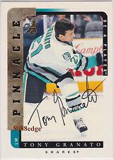 1996-97 BE A PLAYER AUTO: TONY GRANATO #142 ON CARD AUTOGRAPH SAN JOSE SHARKS