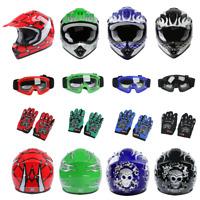 DOT Youth Helmet Kids Child Motorcycle ATV Motocross Racing Gloves Goggles S~XL