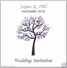 Pack of 10 Wedding Invites - Purple Tree with Love Birds - with Envelopes