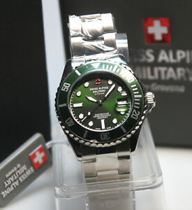 Swiss Alpine Military 10ATM grün/grüne Lünette Swiss Made ungetragen