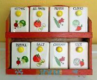 Vintage Spice Set 8 Jars Made in Japan Wall Mount Hanging Wood Rack