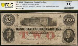 1861 $2 TWO TWO DOLLAR SOUTH CAROLINA BANK NOTE LARGE CURRENCY CIVIL WAR PCGS 35