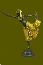 Bronze Sculpture Gold Patina Egyptian Temptress Home Office Decoration Decor Art
