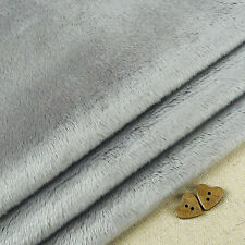 Silver Grey Smooth Cuddle Soft Fur Fabric / Quilting Fleece Teddy Toy Bear