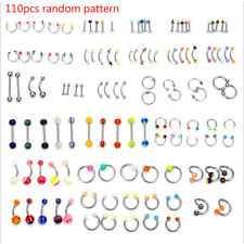Ear Belly Ring Belly Button Nail 110Pcs/box Body Piercing Jewelry Nose Tongue
