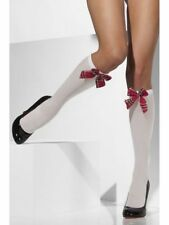 Scots Fancy Dress Costume School Girl Knee High White Socks Tartan Red Bow Tie
