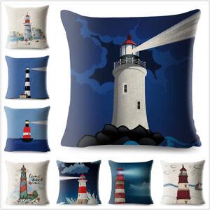 Comics Lighthouse Pattern Linen Cushion Cover Printed Car Pillow Case Sofa