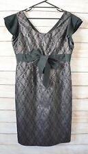 Anthea Crawford Shift Dress Size 16 XL Black Pink Lace Pencil Cocktail Dress