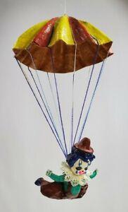 """Vintage Clown Hanging Parachute Paper Mache 13"""" Mexico"""
