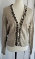 Allegory Camel Hair/Wool Blend Beaded Detail Beige/Tan Cardigan Women's Size XL