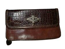 BRIGHTON Brown Leather Croc Clutch Organizer/Wallet Purse Crossbody Bag