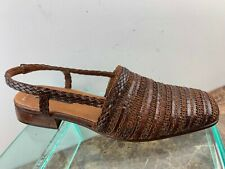Sesto Meucci Brown Woven Leather SlingBack Cuban Heel Sandals Womens 8.5N Italy