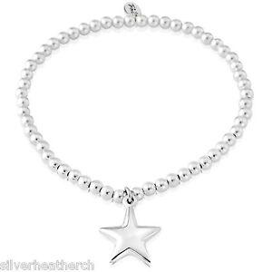 Ladies Sterling Silver Beaded Star Charm Bracelet - Free P&P