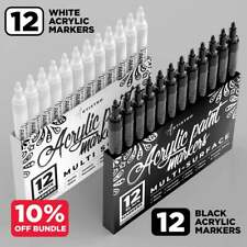 24 Acrylic Markers | 12 White Markers + 12 Black Paint Pens for Rock Painting