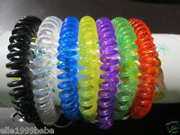 Lot of 24 pc Spiral Wrist Coil Key Chains / New in Sealed Bag /  7 Colors