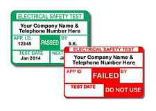 1040 Personalised PAT Test Labels for Plugs with 65 Failed Labels