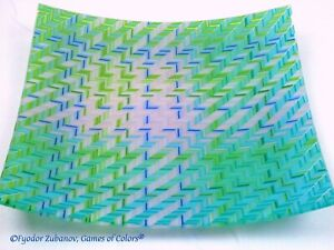 """Original Handmade Glass Square Plate """"Blue Stitches"""""""