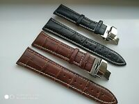 For Seiko Kinetic Watch Genuine Leather Strap  18/19/20/21/22/24mm brown/black