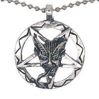 Baphomet Inverted Pentacle Devil Satan Shiny Pewter Pendant Necklace Ball Chain