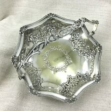 Antique Silver Plated Basket Fruit Bowl Victorian Ornate Repousse Engraving