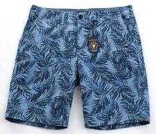 Lucky BRAND Mens Shorts Size 36 Blue Palm Print Saturday Stretch