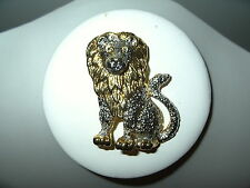 Vintage Large Majestic 2 Tone Gold & Silver Lion Big Cat Brooch Pin