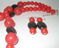 Gemstone Necklace Mookaite Jasper Oval stone-Red Coral with Earrings Set
